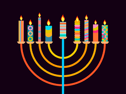 happy chanukah candlestick with nine candles of diffe colors vector
