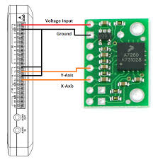 measure accleleration using a 3 axis accelerometer mydaq and figure 2 wiring diagram