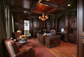 office paneling. formal office with dark wood paneling and ceiling i