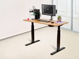 sit stand dual motor height adjule table desk frame electric black mono com