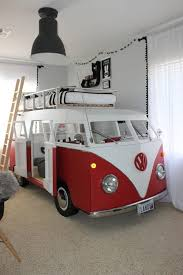 red VW van bed for two boys, one bed on the roof, the second
