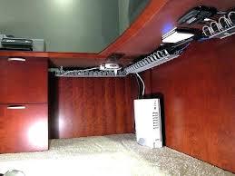 computer desk with wire management under