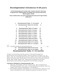 Child Development Milestones Chart 0 6 Years 5 Developmental Milestones 0 19 Years Docsity