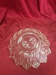lot 2108 elegant mid century pressed glass bowl plate 2 piece set