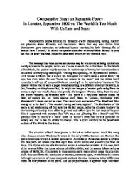 comparative essay on r tic poetry in london  page 1 zoom in