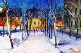 clean snow palette knife oil painting on canvas by leonid afremov size 30