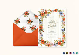 Weding Card Designs Summer Floral Wedding Invitation Card Template