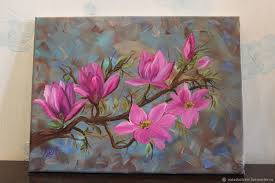 ping on flower paintings handmade order oil painting magnolia nardetum naradostvam livemaster