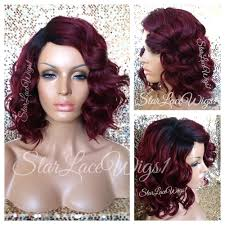 Beach Wave Hair Style short burgundy red wavy beach wave dark root bob full wig side 5946 by wearticles.com