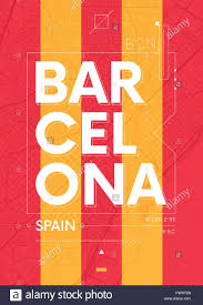 2 Color Poster Design Typography Graphics Color Poster With A Map Of Barcelona