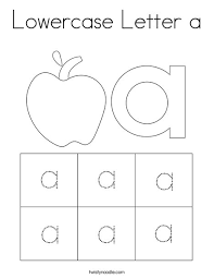 Each sheet features the upper and lowercase letters plus a variety of clipart featuring the same beginning sound. Lowercase Letter A Coloring Page Twisty Noodle
