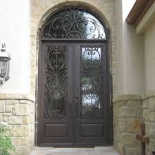 the front door companyWrought Iron Doors  6 x 8 Milan double door with half round