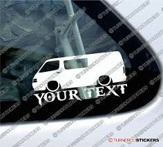 Toyota Hiace Sticker Design 2x Custom Your Text Lowered Car Stickers Toyota Hiace H100 Van With Side Window