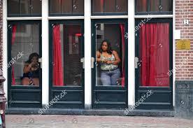 Red Light District Women Women Stand Windows Red Light District Amsterdam Editorial