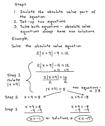 some key topics that involve solving absolute value equations