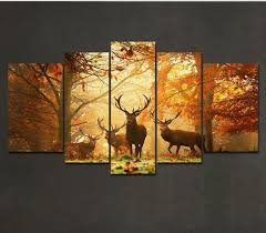 5 piece deer pattern oil painting wall art picture modern home decor living room or bedroom canvas painting wall picture