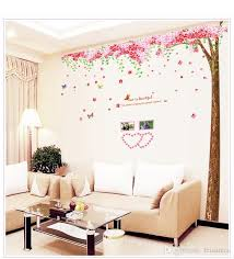 the wall stickers tree romantic cherry blossoms tree of large background wall sticker three piece pvc removable wall stickers ws4023 wall decal adhesive