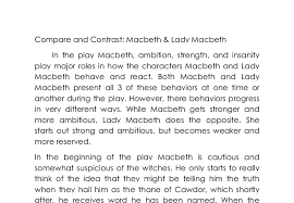 compare and contrast macbeth lady macbeth gcse english  document image preview