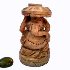 wooden ganesh statue hand carved