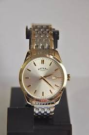 mens rotary watch two tone rotary men s classic two tone gold plated slim watch gb03851 03 ~aa104