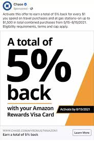 Explore the advantages of having an amazon see rewards program agreement for details on earning and redeeming points. Chase 5 Back Travel Gas On Amazon Prime Rewards Visa Creditcards