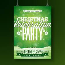 Green Party Flyer Vector Merry Christmas Party Flyer Illustration With