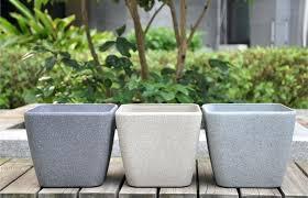 grey sandstone finish square plastic planter pot garden treasures pots plant outdoor metal plant