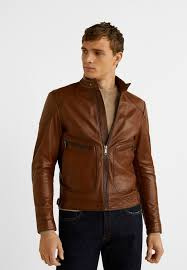 biker leather jacket kognac