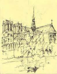 architectural hand drawings. Saint Michael, Paris Courtesy Of Abhay Panchasara Architectural Hand Drawings I