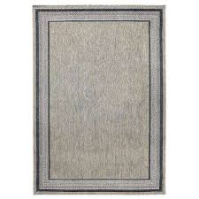 border gray flat woven weave 5 ft x 7 ft indoor outdoor area