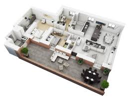 2 bedrooms house design features modern house plan and 3d house