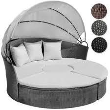 miadomodo rattan sun day bed with table grey garden furniture set