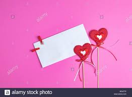 Envelope Design Handmade Valentines Day Greeting Card With Two Handmade Hearts And