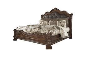 upholstered leather sleigh bed. Ledelle King Sleigh Headboard Bed With Upholstered Faux Leather In Brown E