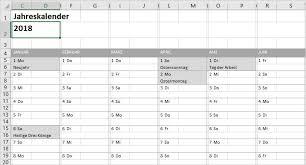 Excel Kalender Excel Jahreskalender Nicht Nur Für 2018 Pcs Campus