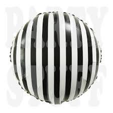 Фольгированный шар <b>полосатый черно</b>-<b>белый</b> Китай, 45*45 см (18