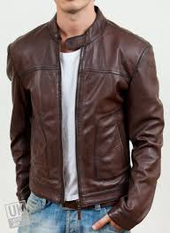 mens brown leather jacket ascari front