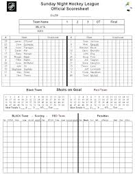 Hockey Score Sheet Template