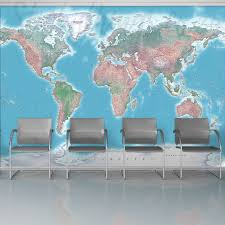 large world map wall mural