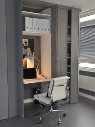 contemporary office ideas. Home Office - Small Contemporary Built-in Desk Gray Floor Idea In London Ideas