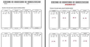 the math systems of equations substitution worksheet task