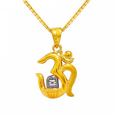 22kt gold om with enameled lingam