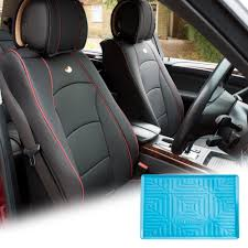 fh group black pu leather front bucket seat cushion covers for auto car suv truck van with blue dash mat combo com