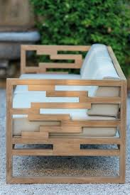 trendy outdoor furniture. Modern Teak Bench With Off-white Upholstery Looks Chic Trendy Outdoor Furniture
