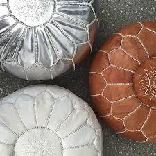 moroccan leather pouffe – white – maison  maison