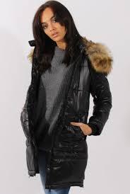 Black Quilted Coat with Faux Fur Hood Trim - Charlotte & Long Black Quilted Coat with Faux Fur Hood Trim - Charlotte Adamdwight.com