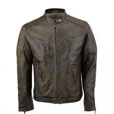 mens brown vintage biker style waxed sheep skin fashion jacket mj 519