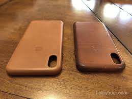 before and after as you can see the contrast between new and used over time is remarkable iphone xs max saddle brown leather on left
