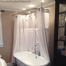 clawfoot tub deckmount shower enclosure combo w gooseneck faucet