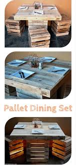 diy pallet outdoor dinning table. Pallet Dining Set - DIY Table Out Of 100% #Pallets With Stools Diy Outdoor Dinning E